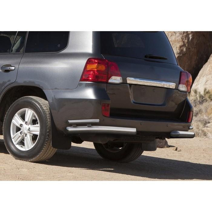 Защита заднего бампера Toyota Land Cruiser 200 2012-2015, d76+d42 уголки