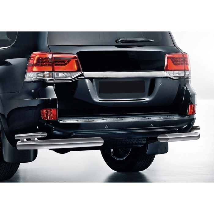 Защита заднего бампера Toyota Land Cruiser 200 2015-, d76+d42 уголки