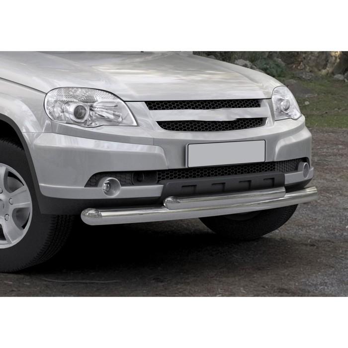 Защита переднего бампера Chevrolet Niva, d76+d57