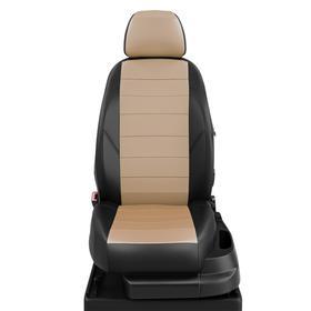 Авточехлы для Great Wall Hover H3-H5 с 2010-2015г. джип 2 выпуск задние спинка и сиденье 40 на 60. задний подлокотник, 5-подголовников, экокожа, бежево-чёрная
