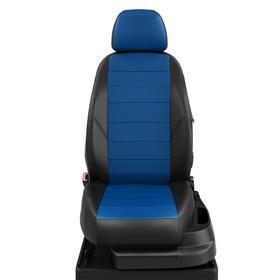 Авточехлы для Honda Civic 9 с 2012-н.в. седан Задняя спинка 40 на 60, сиденье единое, передний подлокотник, молния под задний подлокотник, 2 надкрыльника, 5 подголовников, экокожа, сине-чёрная