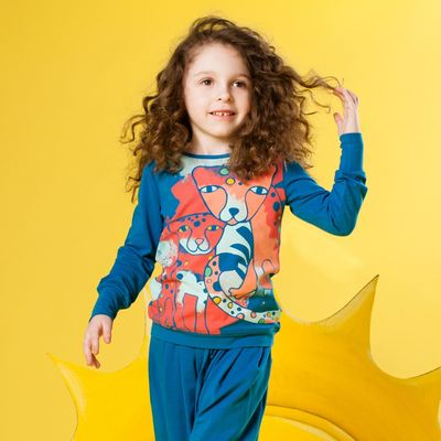 """Джемпер для девочки """"Леопарды"""", рост 92 см, цвет синий 131-008-09"""