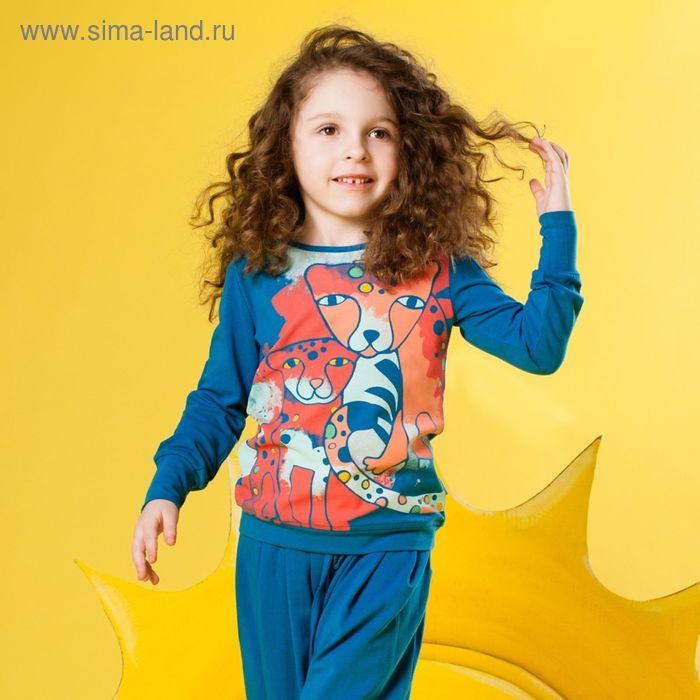 """Джемпер для девочки """"Леопарды"""", рост 98 см, цвет синий 131-008-09"""