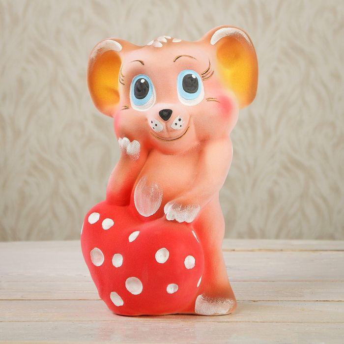 """Копилка """"Мышка с сыром"""" флок, розовая, микс"""
