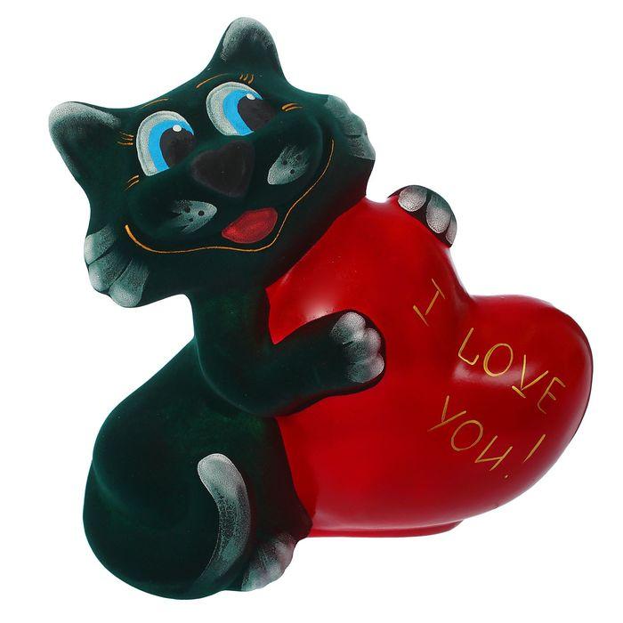 """Копилка """"Кот с сердцем"""" флок, зелёная, микс"""