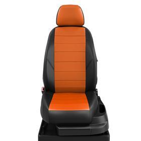Авточехлы для Hyundai Santafe 3 с 2012-2018 джип Задняя спинка 3 секции, сиденье 40 на 60. Задний подлокотник (чехол), 5 подголовников, экокожа, оранжевая