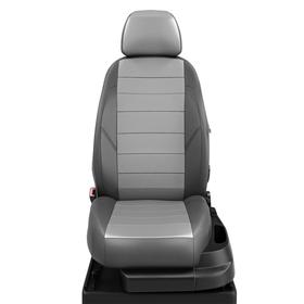 Авточехлы для Volkswagen T-5 с 2009-2015г минивен Рестайлинг 9 мест - минивен. Transporter Рядность: 1+2, 2+1, 3 (+2 подлокотника), экокожа, серая