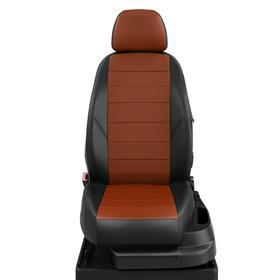 Авточехлы для Audi A4 В8 с 2007-н.в. седан, универсал Задняя спинка 40 на 60, сиденье единое, 2-надкрыльника, передний подлокотник, молния под задний подлокотник, 5 подголовников, экокожа, оранжево-чёрная