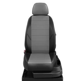 Авточехлы для Kia Rio 2-3 с 2005-2011г. седан Задняя спинка 40 на 60, сиденье единое, подлокотник в водительской спинке, 5 подголовников, экокожа, серо-чёрная