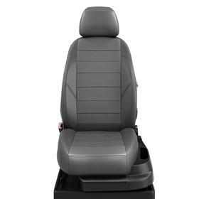 Авточехлы для Kia Soul 2 с 2014-2019хетчбэк 5дверей Задняя спинка 40 на 60, сиденье единое. Задний подлокотник (молния), 5 подголовников, экокожа, тёмно-серая