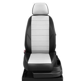 Авточехлы для Mazda 3 с 2010-2012г. седан Задняя спинка 40 на 60, сиденье единое. молния под задний подлокотник, 5+2-подголовников, экокожа, бело-чёрная