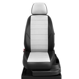 Авточехлы для Mazda 3 с 2013-2018 хэтчбек Задняя спинка 40 на 60, сиденье единое. молния под задний подлокотник, передний подлокотник, 5 подголовников, экокожа, бело-чёрная