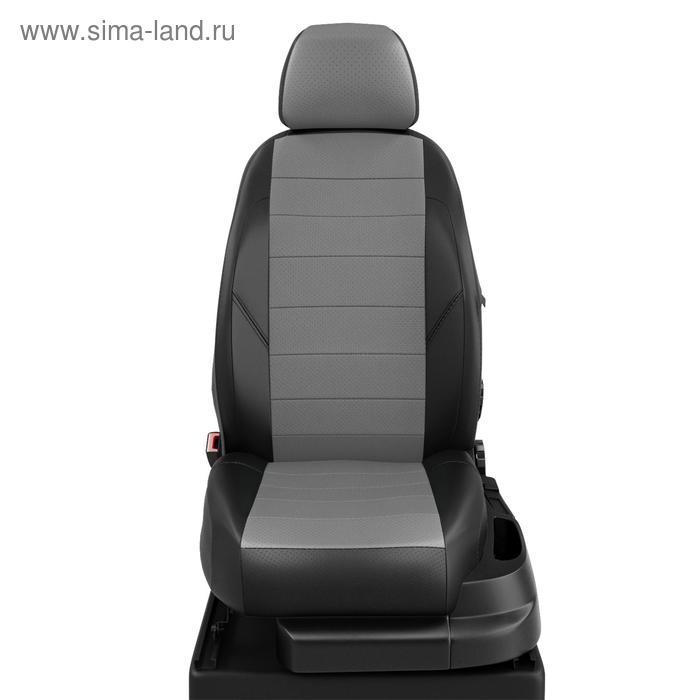 Авточехлы для Toyota Highlander 1 с 2001-2007г. джип (U20) Задние спинка и сиденье 40 на 60, (40 за водителем), 2 передних подлокотника, задний подлокотник- короткий (молния), 5 подголовников, экокожа, серо-чёрная