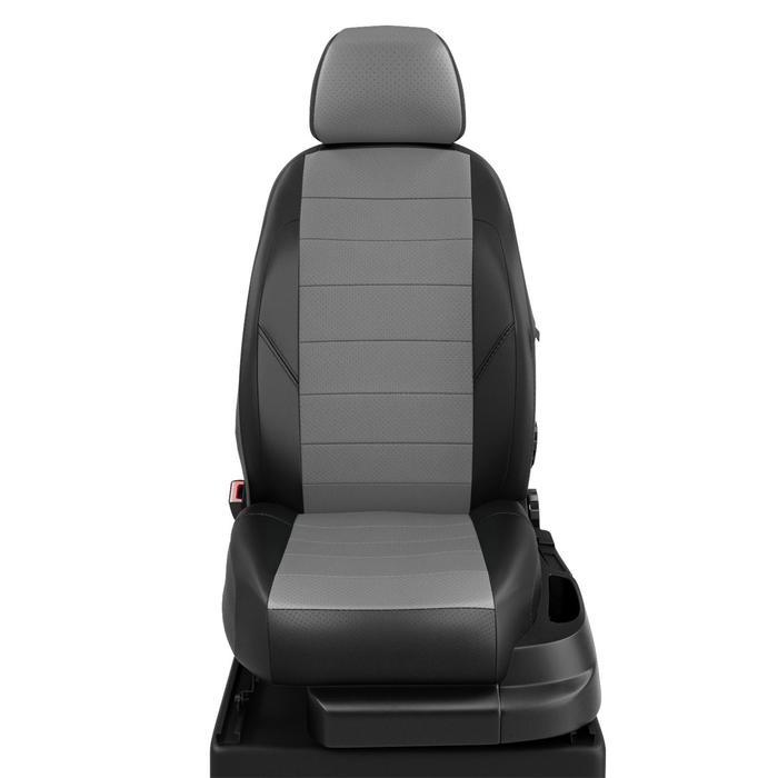 Авточехлы для Mazda 6 с 2007-2012г. хэтчбек, универсал (кроме MPS) Задние спинка и сиденье 40 на 60. молния под задний подлокотник, 5 подголовников, экокожа, серо-чёрная