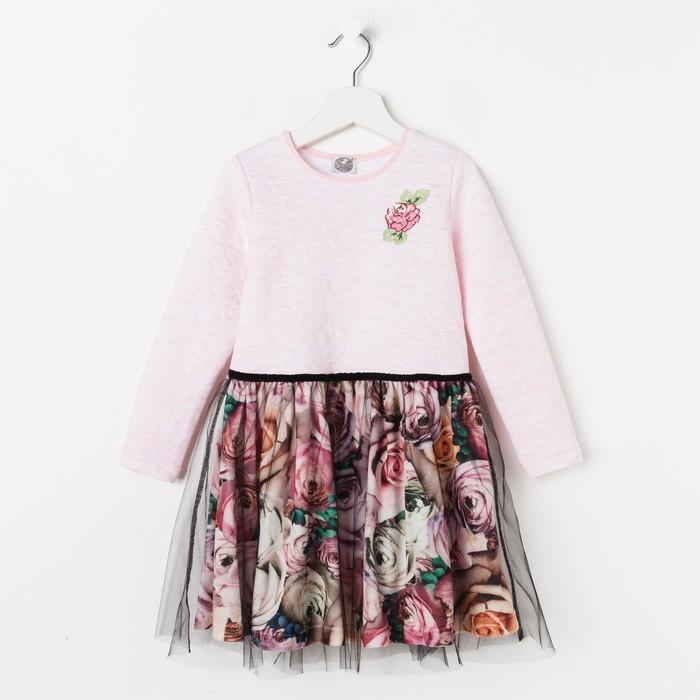 """Платье для девочки """"Романс"""", рост 128 см, цвет розовый, принт розы ДПД587728"""