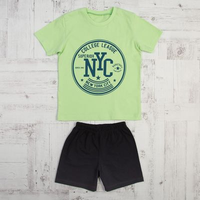 Костюм для мальчика (футболка, шорты), размер 30, рост 116, цвет салатовый КМ-2