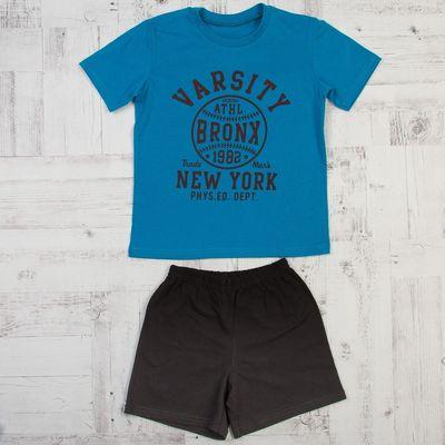 Костюм для мальчика (футболка, шорты), размер 36, рост 134, цвет голубой КМ-3