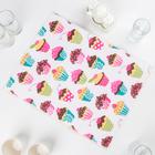Салфетка для сушки посуды Доляна «Пирожные», 38×51 см, микрофибра - фото 1742259