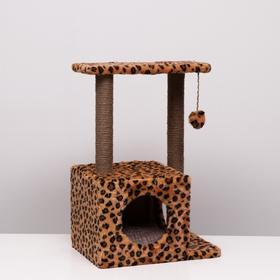 """Домик-когтеточка """"Квадратный двухэтажный с двумя окошками"""", 50х36х75 см, джут, микс цветов"""