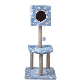 """Домик-когтеточка """"Квадратный"""" с игрушкой, 51 х 51 х 105 см, джут, микс цветов"""