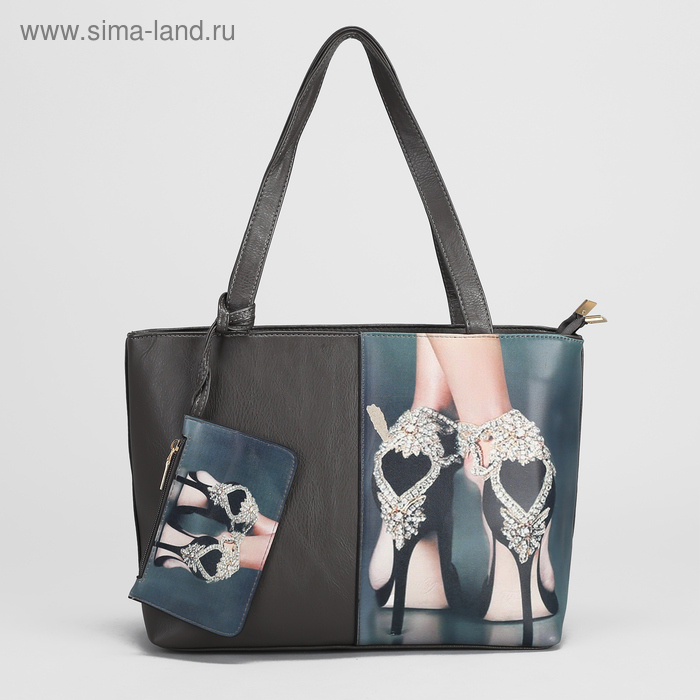 Сумка жен L-6012, 42*11*21, 2 отд на молниях, н/карман, с кошельком, серый