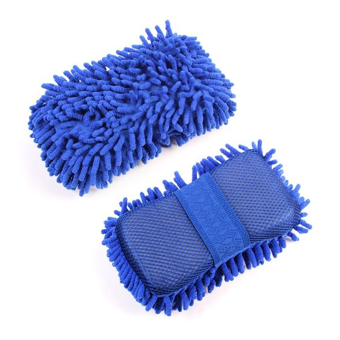 Губка для мытья 20х11 см, микрофибра, микс