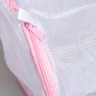 Мешок для стирки с диском, 15×15×19 см, мелкая сетка, цвет белый - фото 4636525