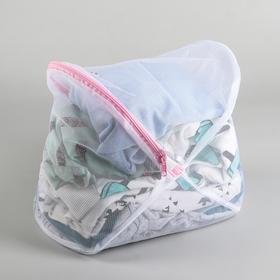 Мешок для стирки, 23×35 см, крупная сетка, цвет белый