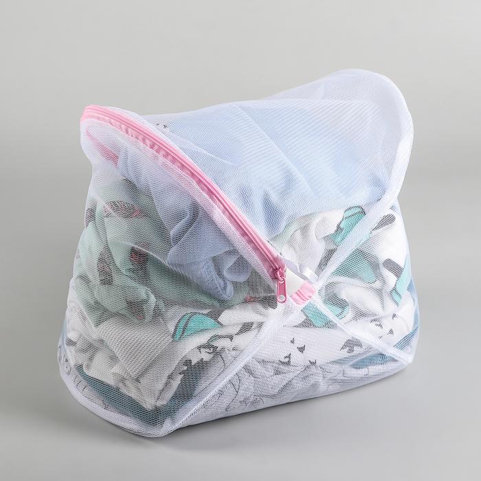 Мешок для стирки, 23×35 см, крупная сетка, цвет белый - фото 4636548