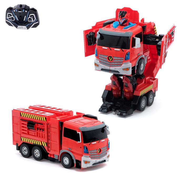 Робот-трансформер радиоуправляемый «Пожарная машина», световые и звуковые эффекты, работает от аккумулятора