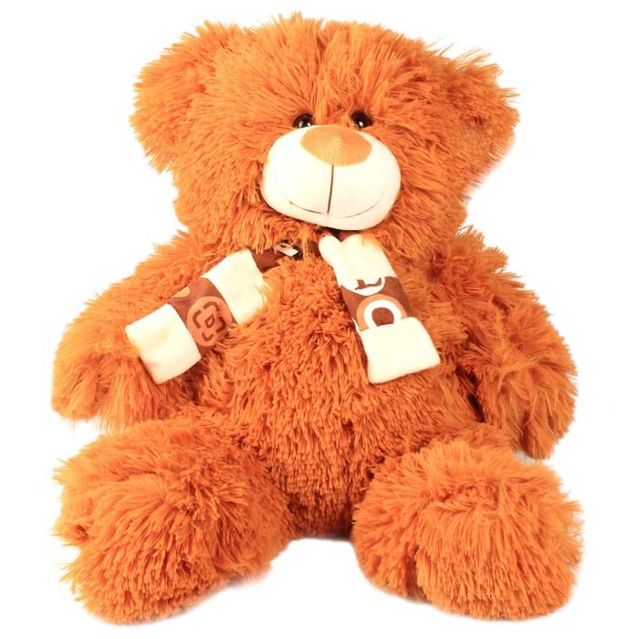 """Мягкая игрушка """"Мишка в шарфе"""", коричневый, лохматый"""