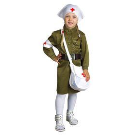 Nurse costume: dress, belt, scarf, headband, bag, size 26, height: 98