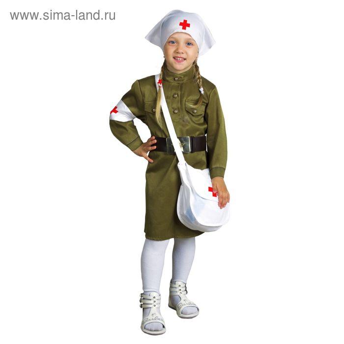Костюм медсестры: платье, ремень, косынка, повязка, сумка, размер 26, рост 98