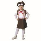 """Карнавальный костюм от 1,5-3-х лет """"Собачка с бантом"""", велюр, сарафан с грудкой, шапка, цвет коричневый"""