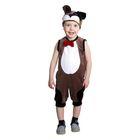 """Карнавальный костюм """"Пёсик с бабочкой"""", велюр, полукомбинезон, шапка, рост 92 см, от 1,5-3-х лет, цвет коричневый"""