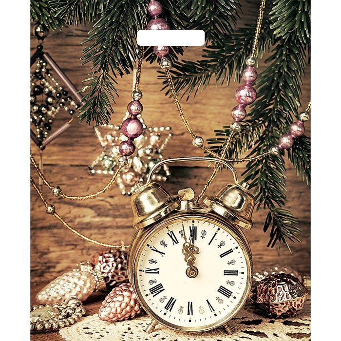 """Пакет """"Старинные часы"""", полиэтиленовый с вырубной ручкой, 45 х38 см, 60 мкм"""