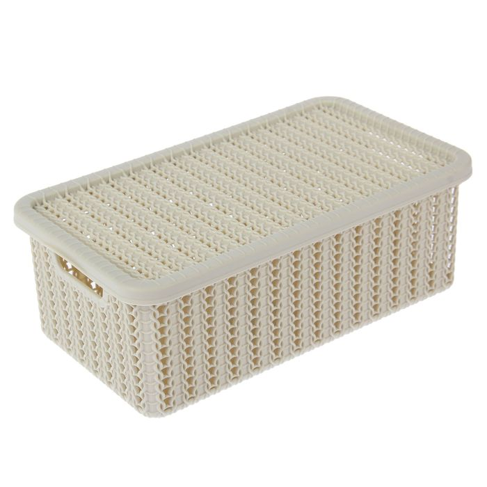 Корзина для хранения с крышкой IDEA «Вязание», 3 л, 26,5×15×10 см, цвет белый - фото 308327110