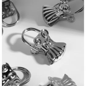 "Clip curtains ""Shell"", 10pcs, color: silver"