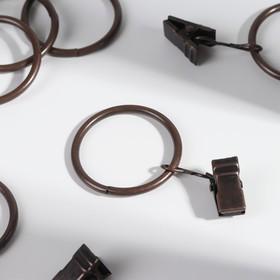 Кольцо для карниза, с зажимом, d = 32/38 мм, 10 шт, цвет медный