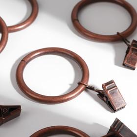 Кольцо для карниза, с зажимом, d = 38/48 мм, 10 шт, цвет бронзовый
