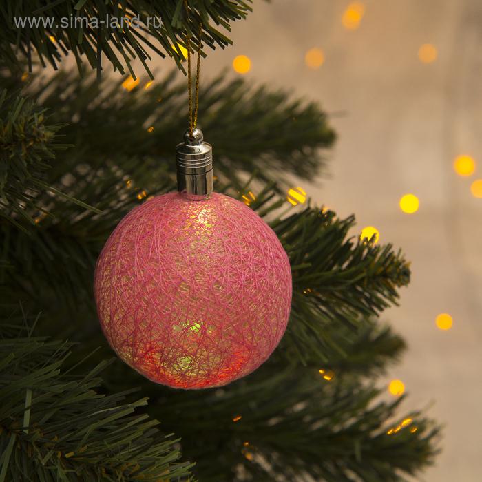 """Игрушка световая """"Елочный шар"""" (батарейки в комплекте) 6 см, 1 LED, RGB, РОЗОВЫЙ"""