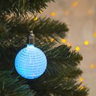 """Игрушка световая """"Елочный шар ребристый"""" (батарейки в комплекте) 5 см, 1 LED, RGB, ГОЛУБОЙ"""