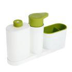 Подставка для ванных и кухонных принадлежностей с дозатором и бутылкой, 28×6×17 см, цвет МИКС