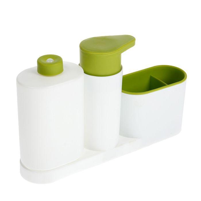 Подставка для ванных и кухонных принадлежностей с дозатором и бутылкой, цвет МИКС