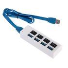 Разветвитель USB 3.0 (Hub), 4 порта, переключатели, провод microUSB(B) 50 см, белый