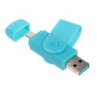 OTG картридер, подключение microUSB и USB, слоты SD microSD, цвет микс