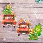 """Подарочная открытка """"Машина с подарками"""" 8х 9 см"""