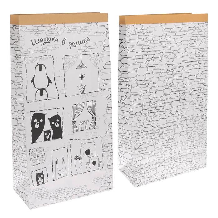 Пакет крафтовый «Игрушки в домике», 64 х 32 х 16 см
