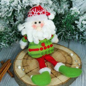 """Мягкая игрушка """"Дед Мороз в свитере - длинные ножки"""" 7*25 см зелёный"""