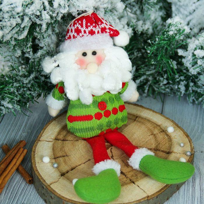 """Мягкая игрушка """"Дед Мороз"""" в зелёной кофте 7*25 см"""